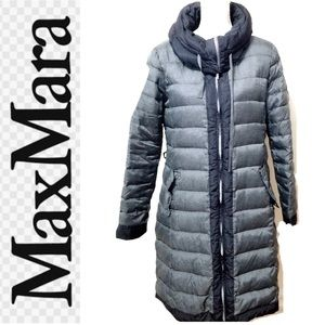 MAX MARA Weekend Italian Gray Down Puffer Coat L